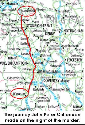 kort over ruten taget af morderen